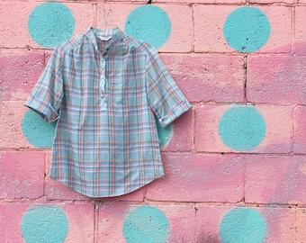 Vintage Sky Blue Plaid Camp Shirt (Size Small/Medium)