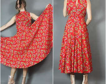 Vintage Red Dress Hand Screened Print Belted Cotton Dress Huge Sweep Floral Pretty Woman