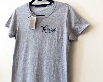 RESIST - hand embroidered t-shirt