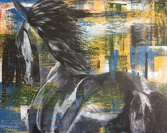 Flying - original painting of a galloping horse. Beautiful decor for any equine lover!