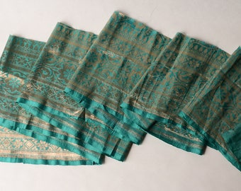 "By the 1/2 yard 18"" cut 7"" wide Vintage Silk Sari Trim Woven Metallic Emerald Green Gold- 120-B2A"