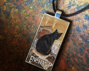 Art of Magic Black Cat, Statement Pendant, Bezel Amulet by Mickie Mueller