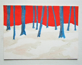 "Twilight Woods #261 (ARTIST TRADING CARDS) 2.5"" x 3.5"" by Mike Kraus - aceo snow white red blue silver trees nature forest woods hike hiking"
