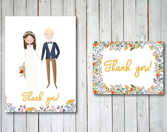 Custom Illustrated Thank you card