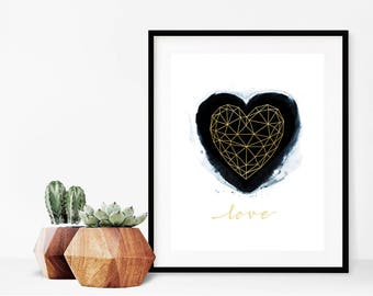 Geometric Heart on Black Paint with Faux Gold Foil Details Wall Art- Instant Digital Download