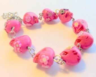 Sugar Skull Bracelet Adjustable Chain Pink Skull Flower Eye Bracelet