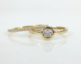 Set of 2: Solitaire Diamond Bezel-Set Engagement  Ring & Rose Gold Eternity Band.