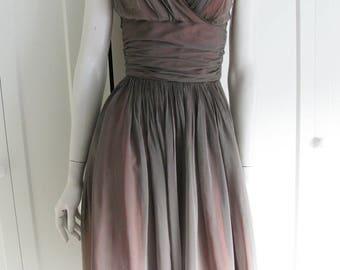 "Vintage 50's Shirred Cocktail Sleeveless Dress - Melo Of California - Waist 24"""