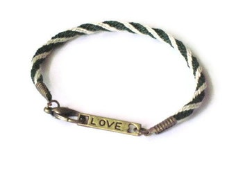 LOVE bracelet - Kumihimo braid - green and white