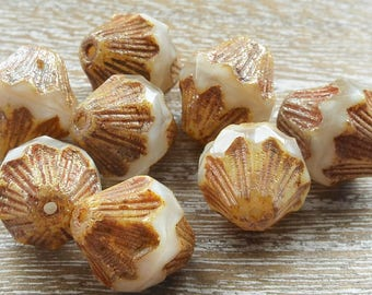 Ivory Czech Glass Bicone Beads With Picasso Finish, 13mm Czech Glass Beads, Bicone Beads, Ivory Beads