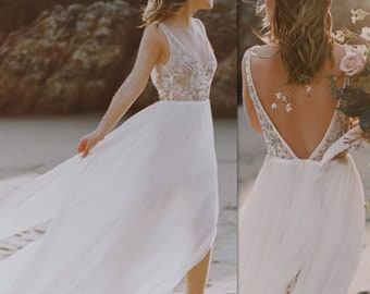 Laguna Gown  / Bohemian Wedding Dress / Boho romantic stunning tulle gown/ boho gown / off shoulder dress