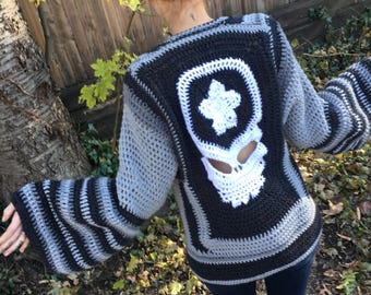 Grateful Dead Sweater, Oversized Steal Your Face Sweater Jacket, Cozy Sweater Coat, Custom Made Crochet Grateful Dead Steal Your Face Coat