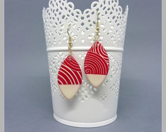 Pair of stud earrings red and white with screen printing, 925 Silver hooks
