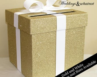 Gold Glittered Wedding Card Box with Bow- Choose your size and colors during checkout