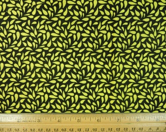 Yellow Leaf on Black - Fat Quarter