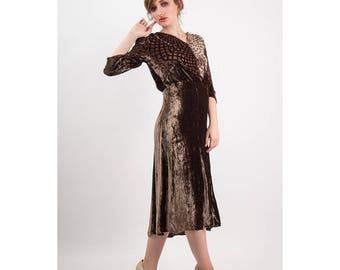 1930s dress / Vintage silk velvet burnout devore / Spider web print / Geometric graphic pattern / S M