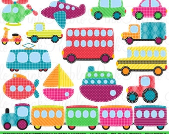 Patchwork Transportation Clipart Clip Art Vectors, Great for Kids Birthday Party Invitations - Commercial and Personal Use