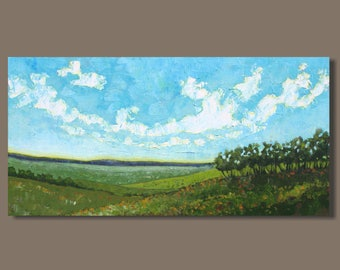 abstract painting, farm field painting, panoramic painting, pastoral, oblong, green fields landscape painting, impressionist art