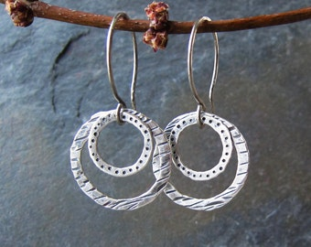 Handmade hammered silver earrings - Silver Splash Earrings