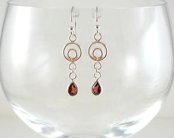 Sterling Garnet Earrings Garnet Gemstone Earrings Sterling Silver Earrings Garnet Silver Earrings Silver Gemstone Earrings Garnet Drops