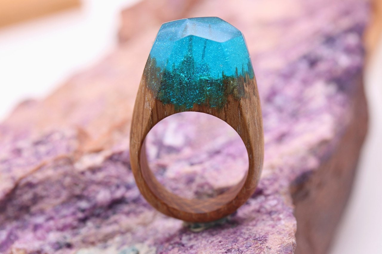 Wooden resin ring Eco epoxy jewelry Green Wood rings the