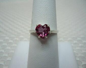 Heart Cut Brazilian Pink Mystic Topaz Ring in Sterling Silver  #2202