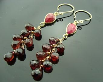 Ruby and Garnet 14k Gold Filled Earrings