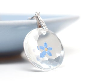 Real Forget-me-not flower pendant - white gold plated silver - real pressed flower