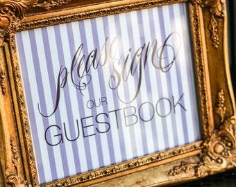 "Purple Stripes Wedding Sign, Guestbook Sign, Dessert Bar Sign, Kids Table Sign, Custom Wedding Sign - ""Sweeping Script"" Guestbook Sign"