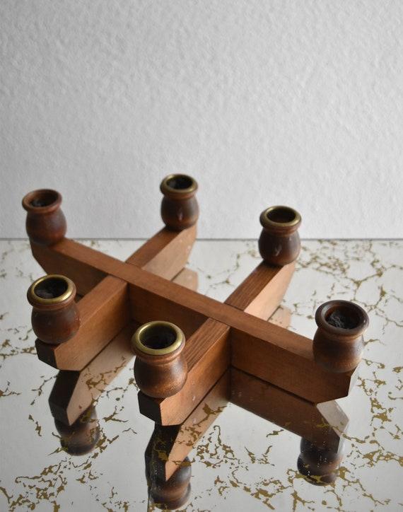 mid century modern wooden danish candelabra / candlestick holders / minimalist / scandinavian