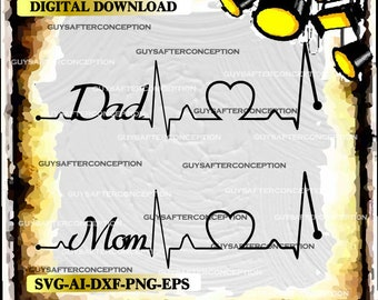 Dad Mom Heartbeat Lines Vector Image SVG Files Digital Cutting Files  Ai - Eps - PNG - DXF - Svg