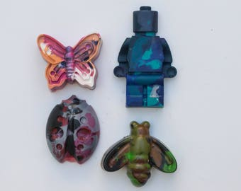 Jumbo crayons, crayons, recycled crayons, kid gift, party favor, kid art, art gift, coloring gift, crayons,Lego, firefly, butterfly, ladybug