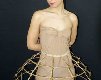 Gold lame color Crinoline hoop cage skirt pannier 4 rows elastic waist band and satin ribbon fantasy cage Dress Ball Gown Bone