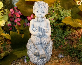 Pan Statue - Concrete Baby Satyr Faun Pagan God Playing His Flute
