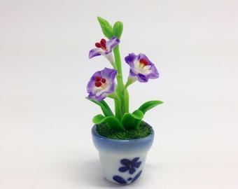 Miniature clay flowers,Dollhouse,porcelain flowers,sculpture,clay flowers  Miniature clay flowers,Dollhouse,porcelain