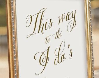 Arrow Wedding sign - This Way Sign - Wedding Reception Sign - digital PDF file