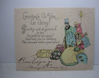 Vintage bon voyage card etsy 1920s rust craft art deco hand colored gold gilded greetings as you go away greeting card m4hsunfo Images
