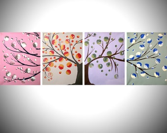tree of life colorful art landscape cute painting canvas wall nursery decor pop contemporary cute triptych 4x a4 or a3 high quality prints