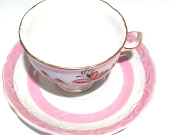 Vintage Mismatched Footed Tea Cup and Saucer Set Pink and White