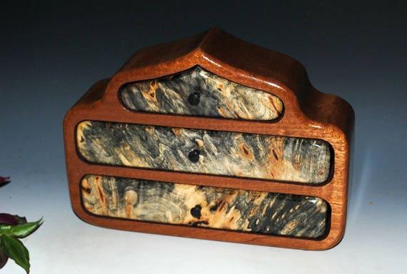 Wooden Jewelry Box - Buckeye Burl on Mahogany Pagoda Style Handmade Wood Jewelry Box by BurlWoodBox - Art Jewelry Box, Small Jewelry Box