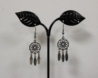 Dream catcher steel earrings