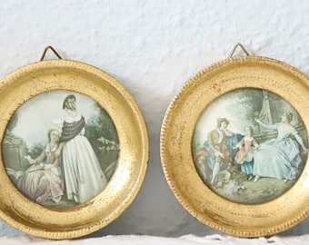 Set of Two Small Vintage Round Framed Art by Hilair and Lancret ,'Reading' and 'the Kite', Florentine Frame, Italy