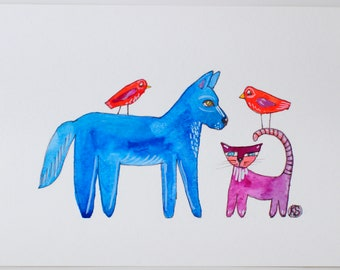 Folk Art Painting - Gouache Painting - Folk Art Dog - Blue Dog - Folk Art Cat - Purple Cat - Folk Art Birds - Red Birds - Illustration Art