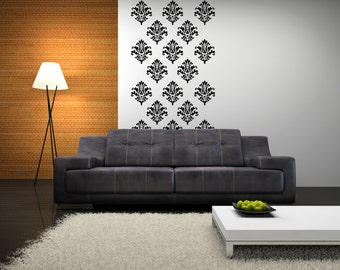 Wall Stencils Damask - Damask Wall Decal - Vinyl Damask 0008