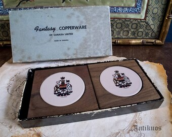 Vintage Canadian coasters, mid century wood and ceramic souvenir coasters,FANTASY COPPERWARE small coasters, retro barware, collectable