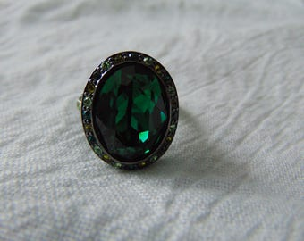 vintage kjl green crystals ring size 8 anthricite sparkling ring crystal ring kenneth jay lane jewelry