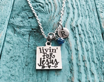 Living for Jesus, Christian, Cross, Silver Necklace, Charm Necklace, Bible study, Encourage, Inspire, Baptism Pastor, Friend, Gifts for