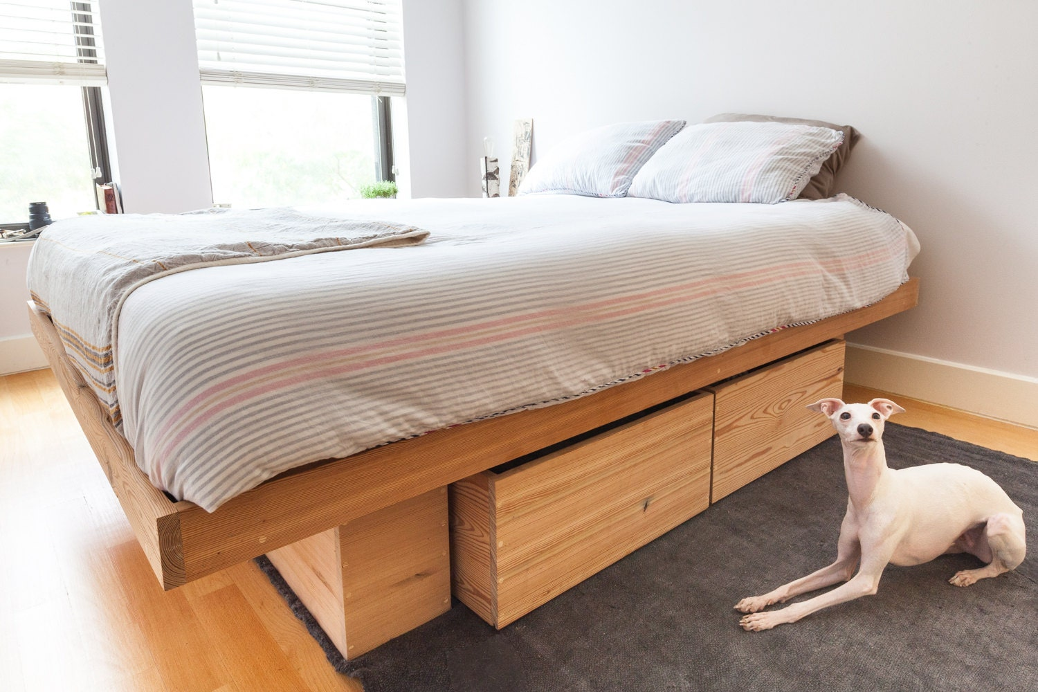 🔎zoom. raw solid antique pine platform bed with storage queen king