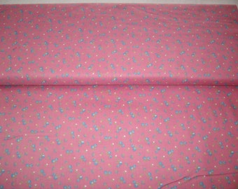 Marcus Brothers, vintage fabric, hot pink w/ blue flowers, by yard,100% cotton