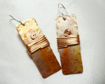 Copper Rectangle Earrings with Patina and Coils
